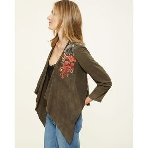 Johnny Was Suede Jacket XS Green Embroidered NWT